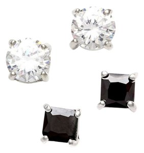 City by City 2 pair Jet Black & Princess Cut Cubic Zirconia Earring Set