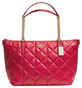 Coach Leather Zip Gold Chain Strap Quilted Tote in Red