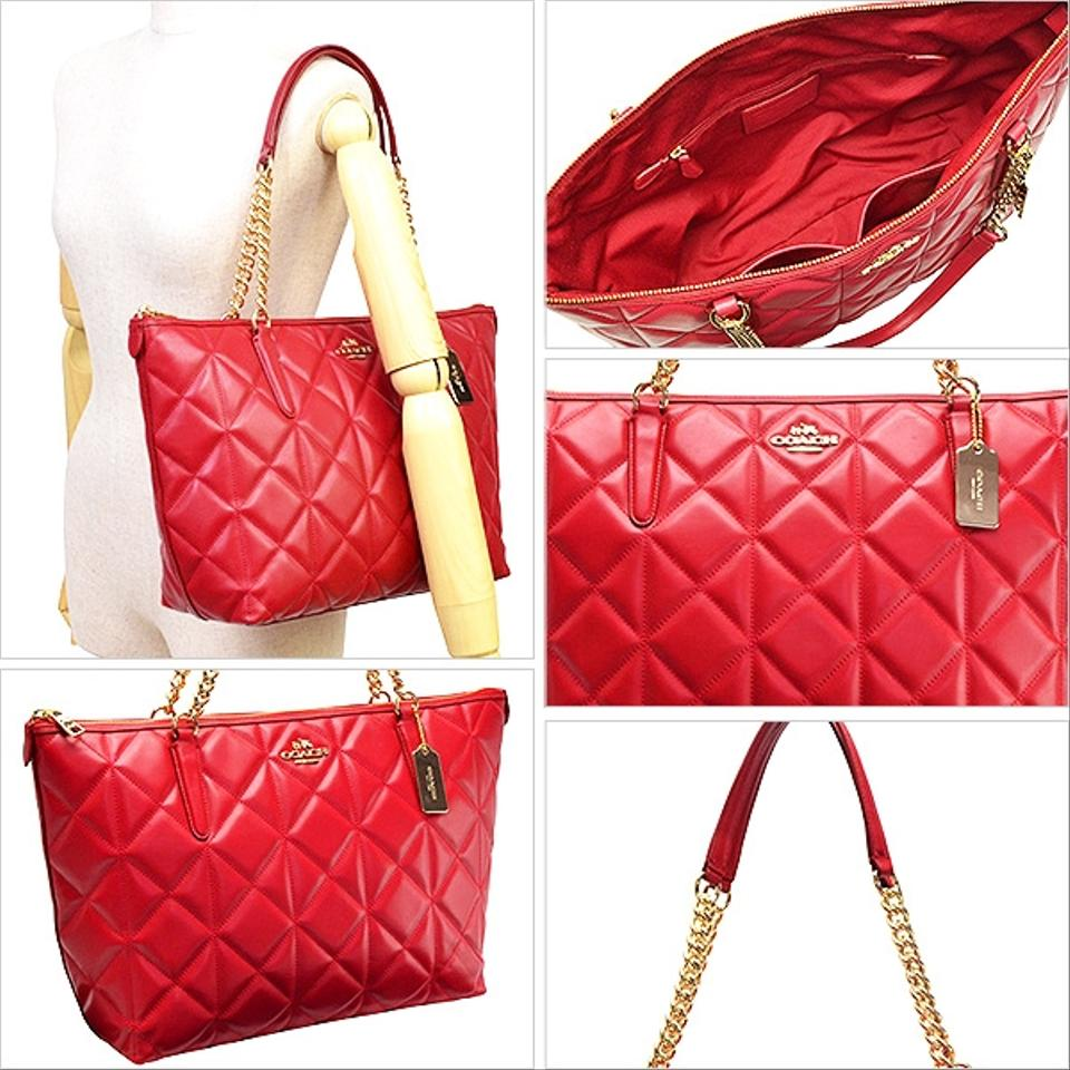 Coach Shoulder Bag Red Quilt Zip Tote Leather Gold Chain Strap Quilted In