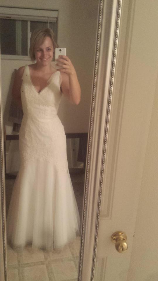 c17a1dbbb205 Vera Wang Ivory Mesh Tulle with Lace Applicaes Vw351021 Vintage Wedding  Dress Size 12 (L ...
