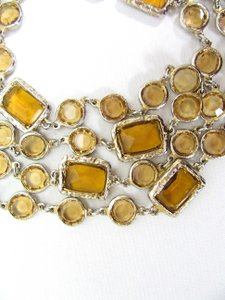 Chanel CHANEL Amber Crystal Chicklet Gold Plated Necklace Sautoir