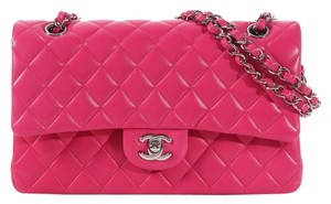 Chanel Pink Quilted Cc Ch.k0216.18 Lambskin Shoulder Bag