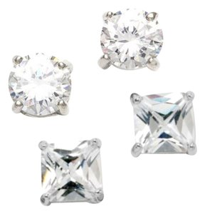 City by City 2 pair Cushion Cut & Princess Cut Cubic Zirconia Earring Set