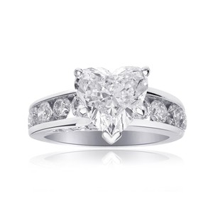 Avital & Co Jewelry 3.47ct J-si2 Natural Heart Diamond Engagement Ring 14k White Gold
