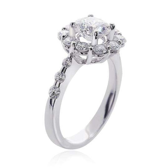 Avital & Co Jewelry G Si1 Enhanced Feather Filled 2.23 Carat Natural Round Diamond Halo 18k Wg Engagement Ring Image 1