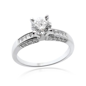 Avital & Co Jewelry 1.45 Carat H-si1 Natural Round Cut Diamond Engagement Ring 14k White Gold