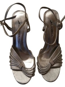 Lasonia Shoes Bling Heels Strappy Silver Pumps