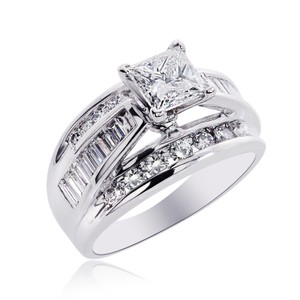 Avital & Co Jewelry 2.58 Carat H-vs2 Natural Princess Cut Diamond Engagement Ring 14k White Gold
