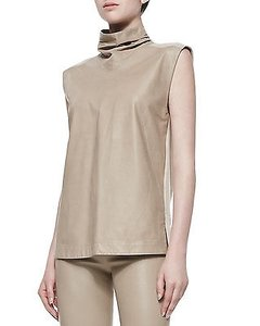 Helmut Lang Tilt Leather Front Shell High Neck Brittle Top Tan