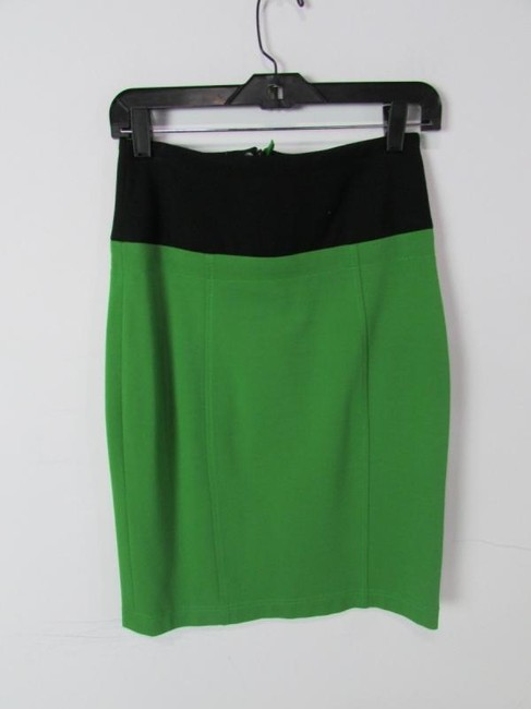 Other Pencil Knee Length Color-blocking Work Wear Skirt Green Image 1