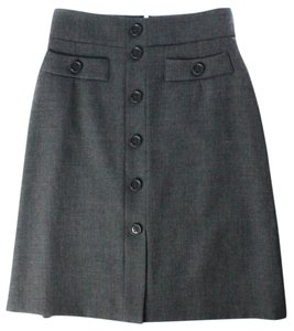 Weill A-line Button Knee Length Skirt Gray