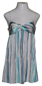 Ann Taylor LOFT short dress Multi-Colored, Teal Green/Turquoise Blue Spaghetti Straps Satin Polyester Striped on Tradesy
