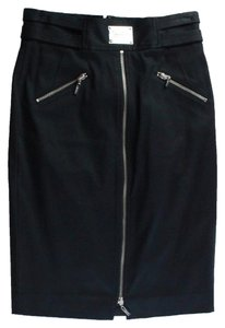 Marciano Pencil Zipper Straight Work Wear Silver Hardware Skirt Black