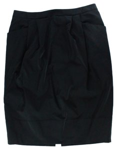 St. John Pleated Straight Pencil Career Work Wear Skirt Black