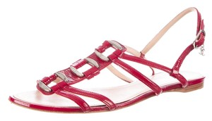 Chanel Patent Leather Red, Silver Sandals
