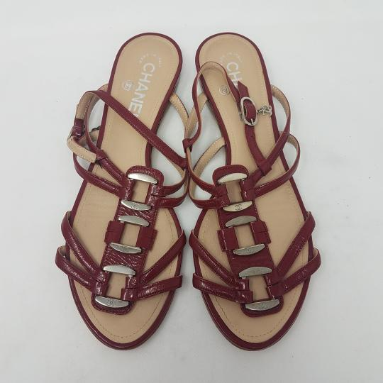 Chanel Patent Leather Hardware Interlocking Cc Ankle Strap Strappy Red, Silver Sandals Image 1