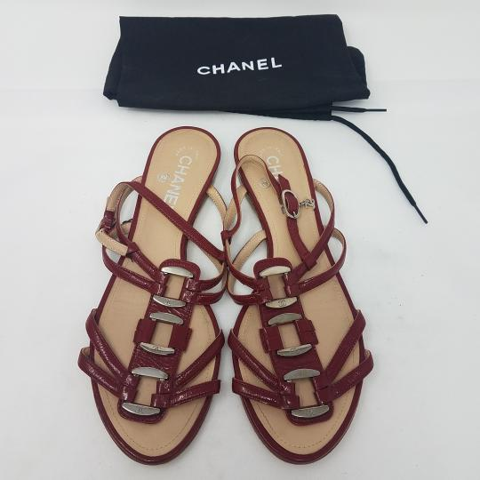 Chanel Patent Leather Hardware Interlocking Cc Ankle Strap Strappy Red, Silver Sandals Image 2