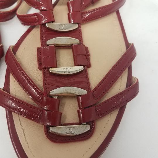 Chanel Patent Leather Hardware Interlocking Cc Ankle Strap Strappy Red, Silver Sandals Image 3