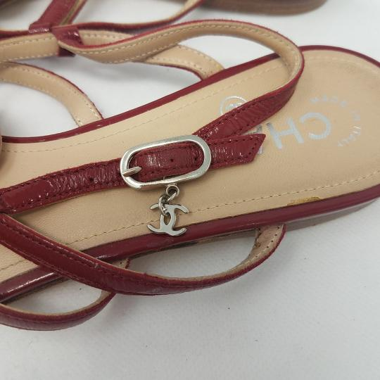 Chanel Patent Leather Hardware Interlocking Cc Ankle Strap Strappy Red, Silver Sandals Image 5