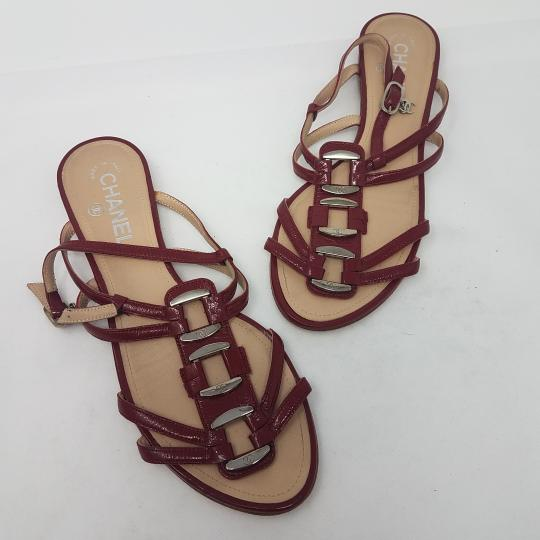 Chanel Patent Leather Hardware Interlocking Cc Ankle Strap Strappy Red, Silver Sandals Image 6