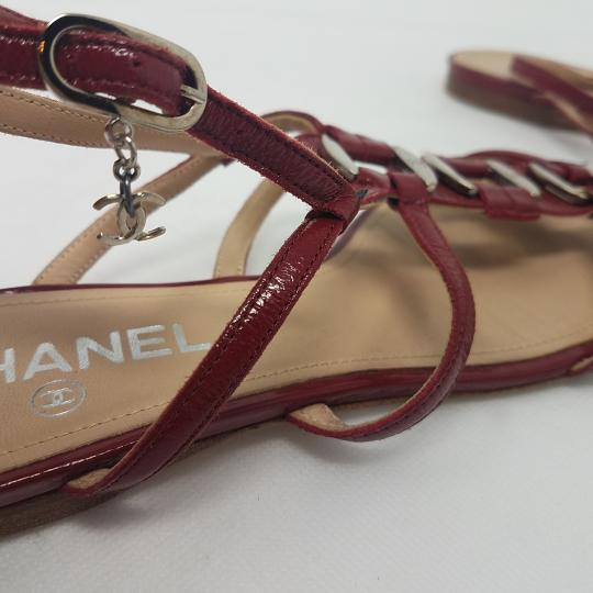 Chanel Patent Leather Hardware Interlocking Cc Ankle Strap Strappy Red, Silver Sandals Image 7