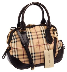 Burberry New With Tags Haymarket Check Orchard Satchel in Beige & Brown