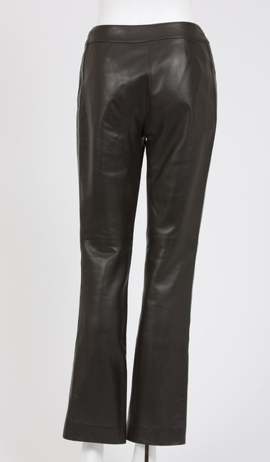 Chanel Leather Leather Spring 2002 Straight Pants Espresso Brown