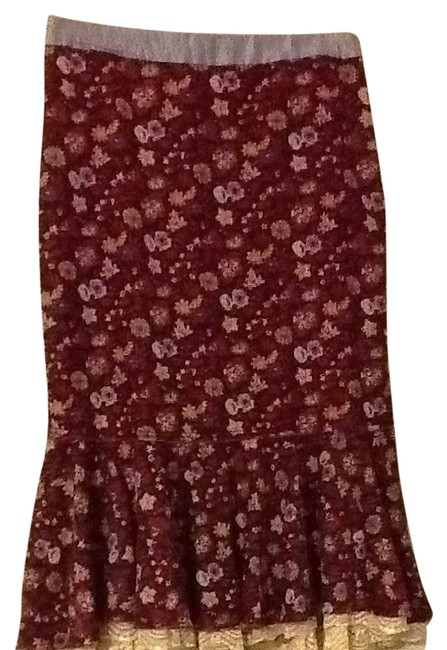 Free People Skirt Burgundy Floral