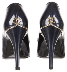 Chanel Patent Leather Hardware Blue, Gold Pumps