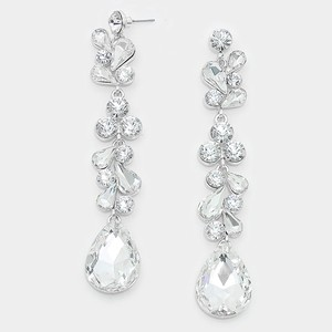 Clear Rhodium/Silver Elegant Rhinestone Crystal Teardrop Dewdrop Earrings