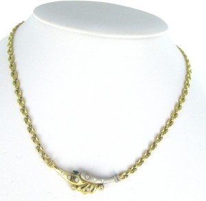 Other 14KT YELLOW WHITE GOLD NECKLACE 9 DIAMONDS .30 CARAT & SAPPHIRE BY PASS JEWELRY