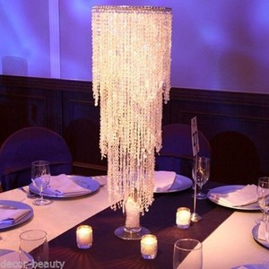 Lot Of 14 Tall Wedding Centerpiece (with Stands) Acrylic Crystal Beaded Chandelier Clearance