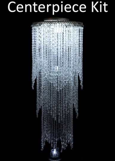 Clear Lot Of 14 Tall (With Stands) Acrylic Crystal Beaded Chandelier Centerpiece