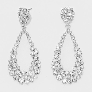 Elegant Teardrop Cutout Crystal Earrings