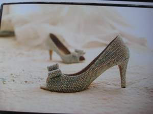 Peep Toe Silver Wedding Shoes