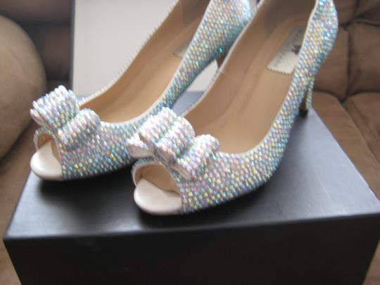Silver Ab Crystals Peep Pumps Size US 6.5 Regular (M, B)