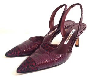Manolo Blahnik Heels Slingback Burgundy Red Pumps
