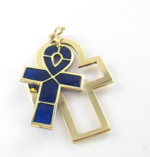 Other 14K KARAT SOLID GOLD PENDANT BLUE CROSS LIFE ENAMEL 2.6 GRAMS CHARM FINE JEWELRY
