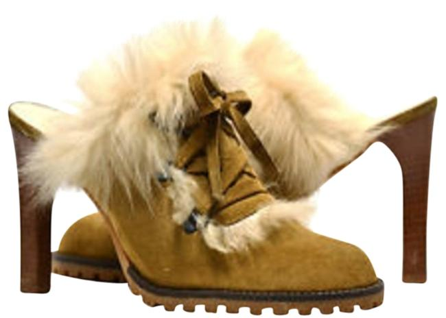 Item - Tan Kristy Suede Beige Shearling Fur Lace Up Detail Mule/Bootie Mules/Slides Size US 7 Regular (M, B)
