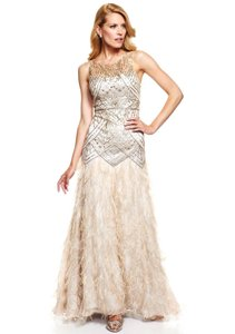 Sue Wong Champagne/Silver Polyester and Nylon Feather Sequin Gatsby Gown Vintage Wedding Dress Size 8 (M)