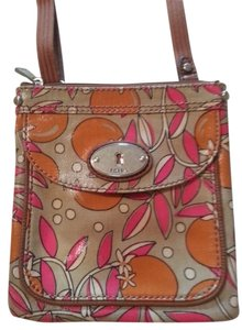 Fossil Flowers Floral Pink Orange Cross Body Bag