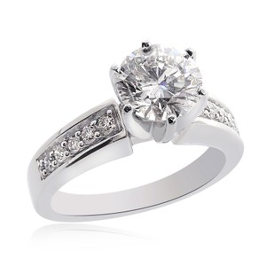 Avital & Co Jewelry 14k White Gold W 1.95 Carat J-si3 Natural Round Cut Diamond W/Gold Engagement Ring