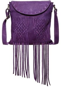 Cut N Paste Fringe Hem Festival Rocker Leather Shoulder Bag
