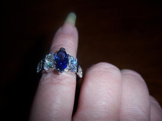 Unknown Silver and purple bonded marquise crowned ring