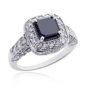 Avital & Co Jewelry 3.42 Carat Black Diamond Engagement Ring 14k White Gold Radiant