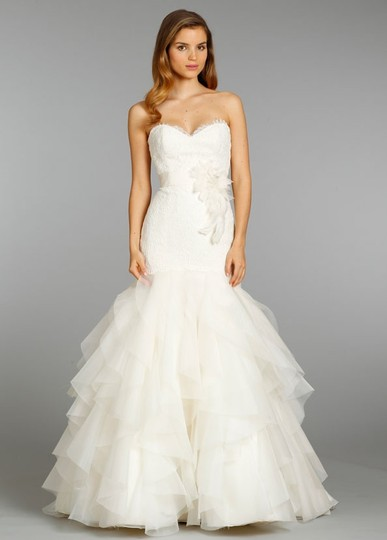 Jim Hjelm Ivory Silk Organza (Skirt) Alencon Lace (Bodice) Jh8356 Feminine Wedding Dress Size 4 (S)