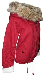 Other New Womens Faux Fur Hooded Coat With S Burgundy Jacket
