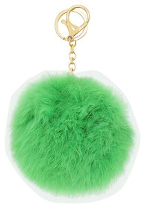 Green Pom Pom Rabbit Fur Bag/Purse Charm Key Chain