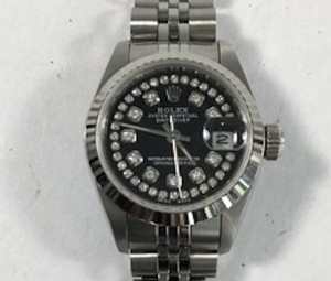 Rolex Womens Rolex 26mm Datejust Black Dial With Diamonds