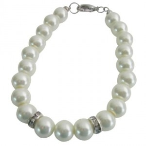 White Flower Girl Superb Price Ivory Color Pearls Bracelet Jewelry Set